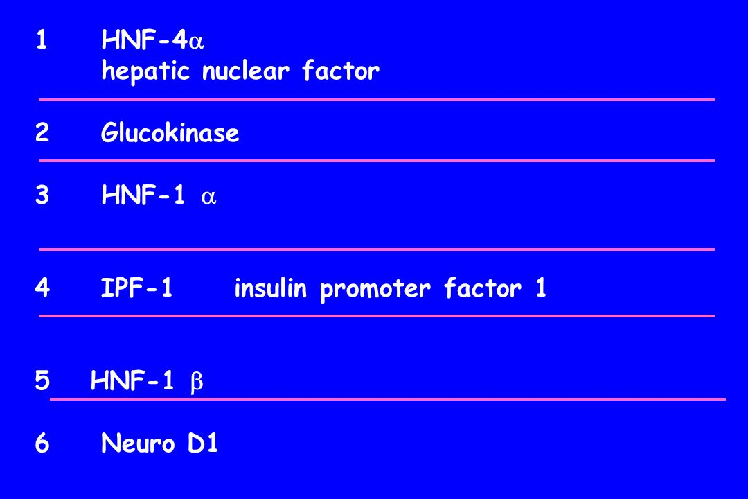 HNF-4 hepatic nuclear factor Glucokinase HNF-1  IPF-1 insulin promoter factor 1 HNF-1  Neuro D1