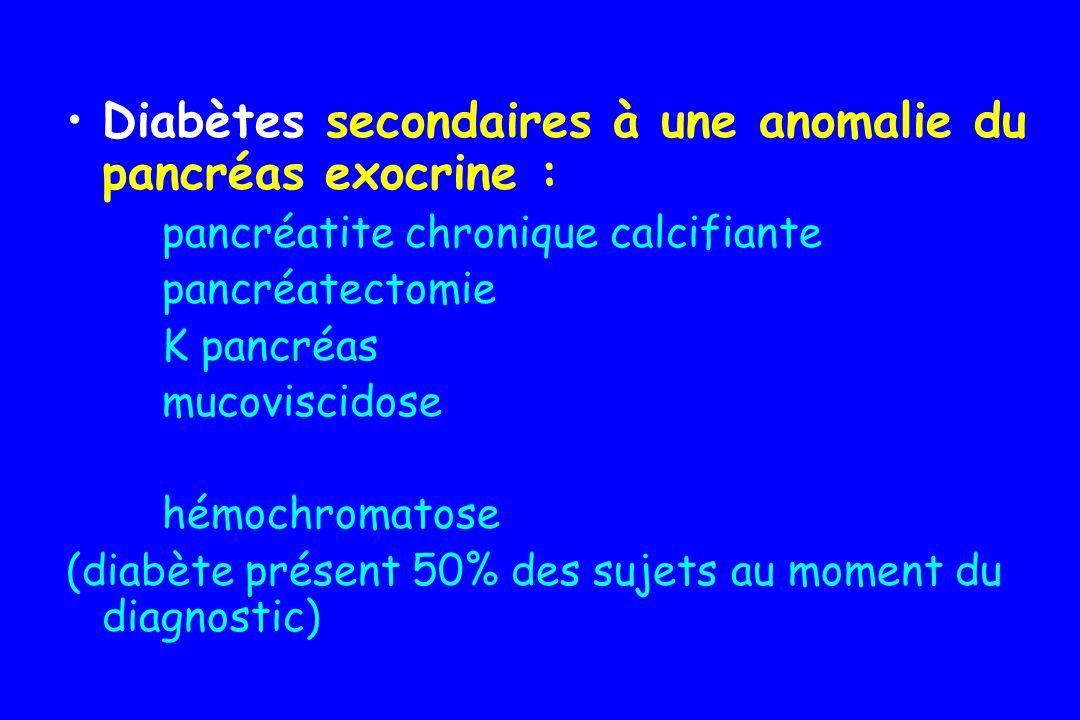Diabètes secondaires à une anomalie du pancréas exocrine :