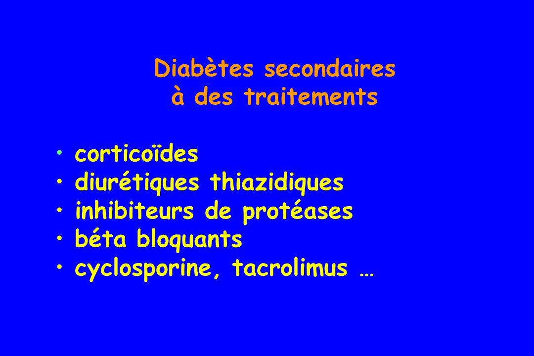 Diabètes secondaires à des traitements. corticoïdes. diurétiques thiazidiques. inhibiteurs de protéases.