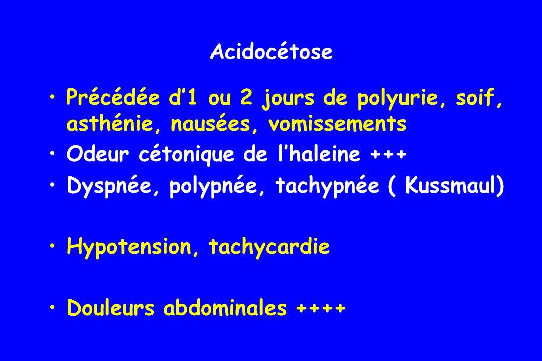 Acidocétose Précédée d'1 ou 2 jours de polyurie, soif, asthénie, nausées, vomissements. Odeur cétonique de l'haleine +++