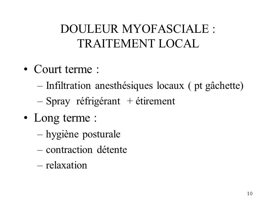 DOULEUR MYOFASCIALE : TRAITEMENT LOCAL