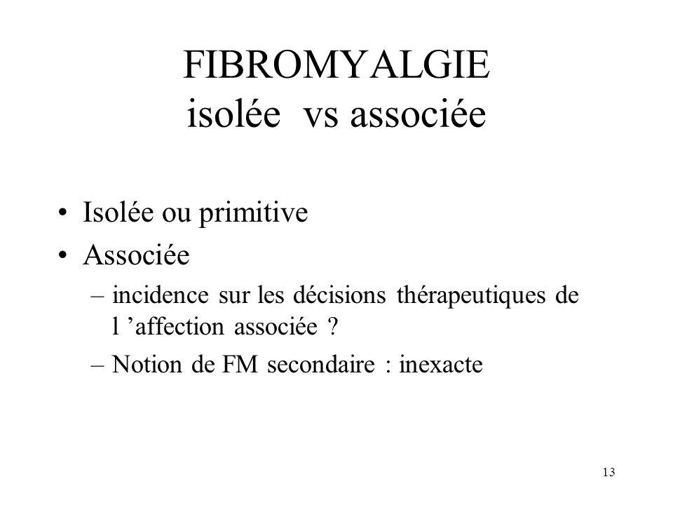 FIBROMYALGIE isolée vs associée