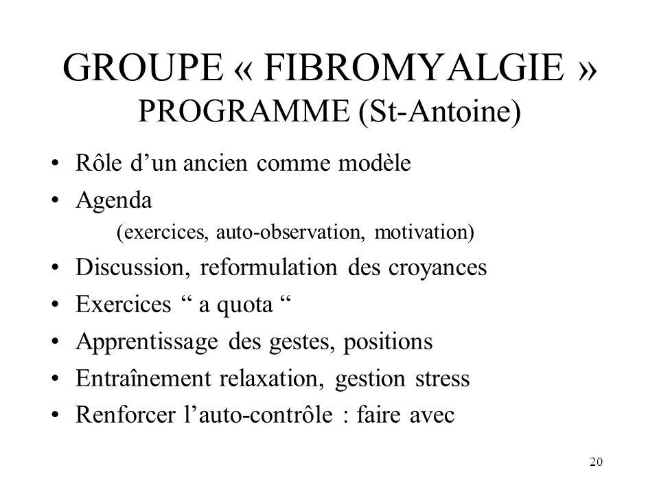 GROUPE « FIBROMYALGIE » PROGRAMME (St-Antoine)
