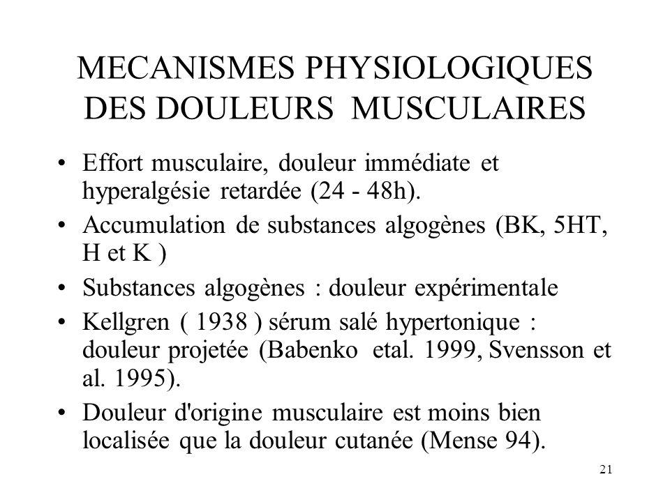 MECANISMES PHYSIOLOGIQUES DES DOULEURS MUSCULAIRES
