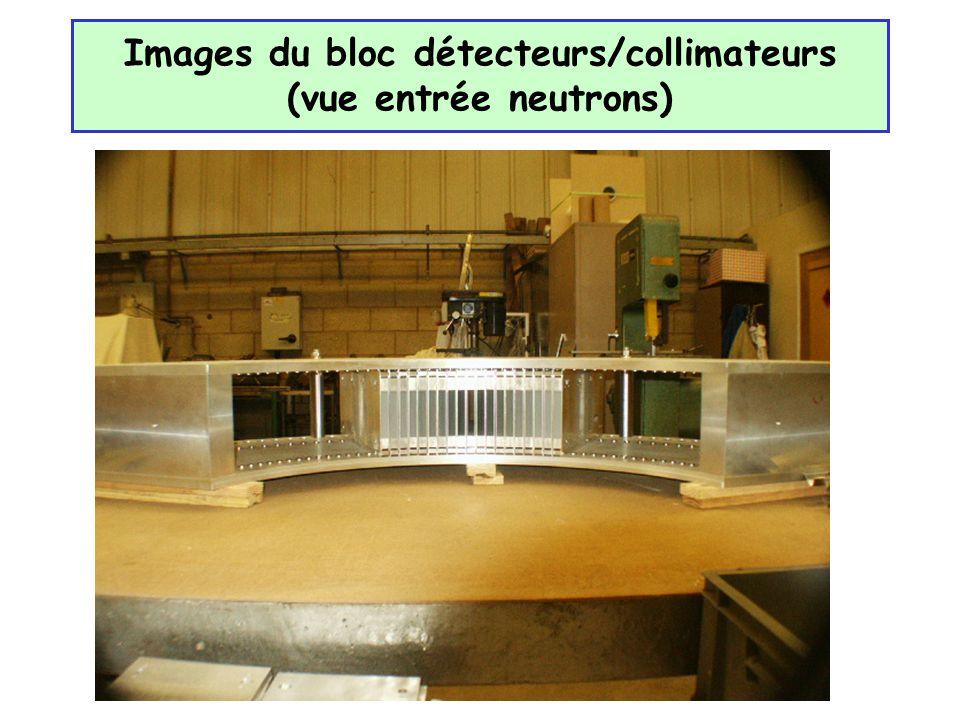 Images du bloc détecteurs/collimateurs (vue entrée neutrons)