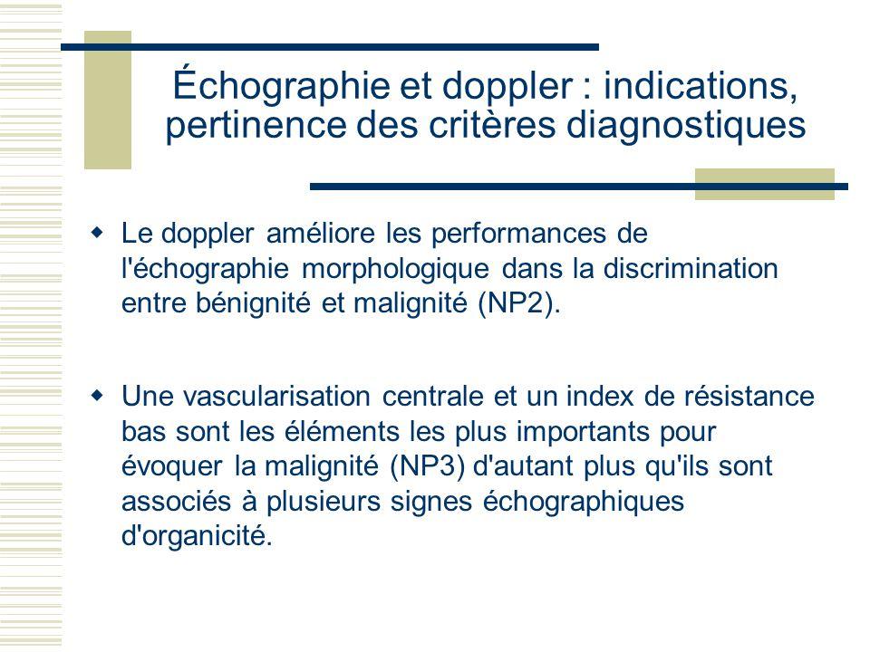 Échographie et doppler : indications, pertinence des critères diagnostiques