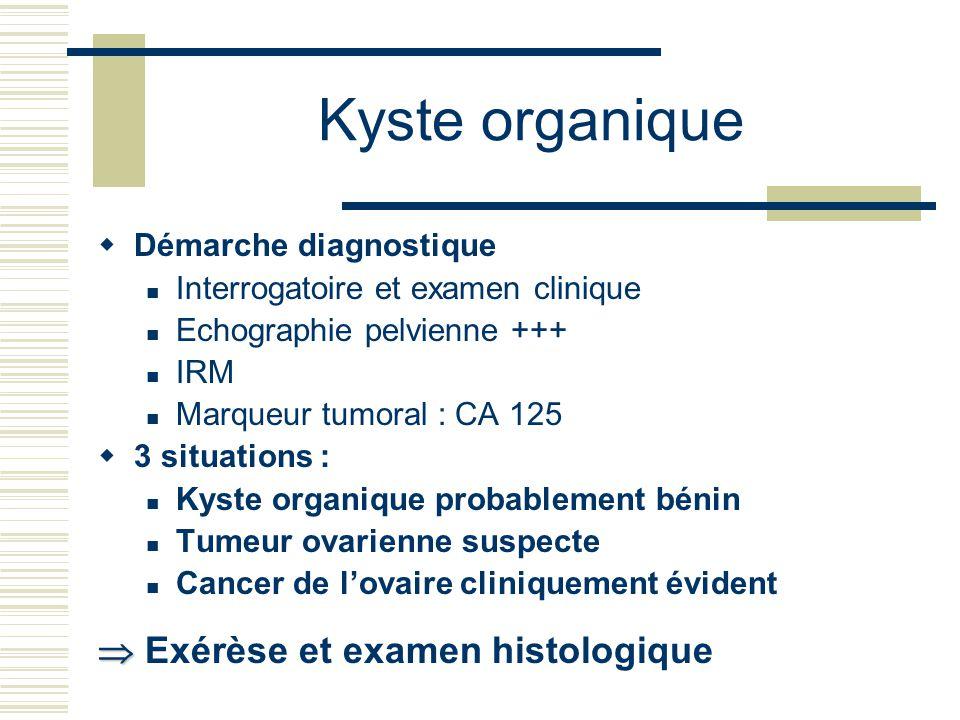 Kyste organique  Exérèse et examen histologique Démarche diagnostique