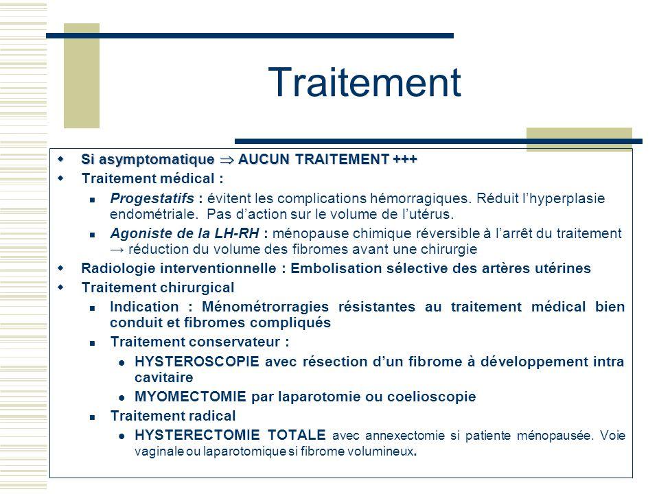 Traitement Si asymptomatique  AUCUN TRAITEMENT +++