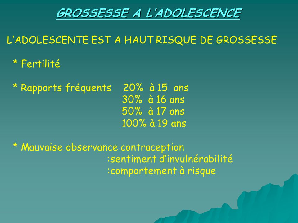 GROSSESSE A L'ADOLESCENCE