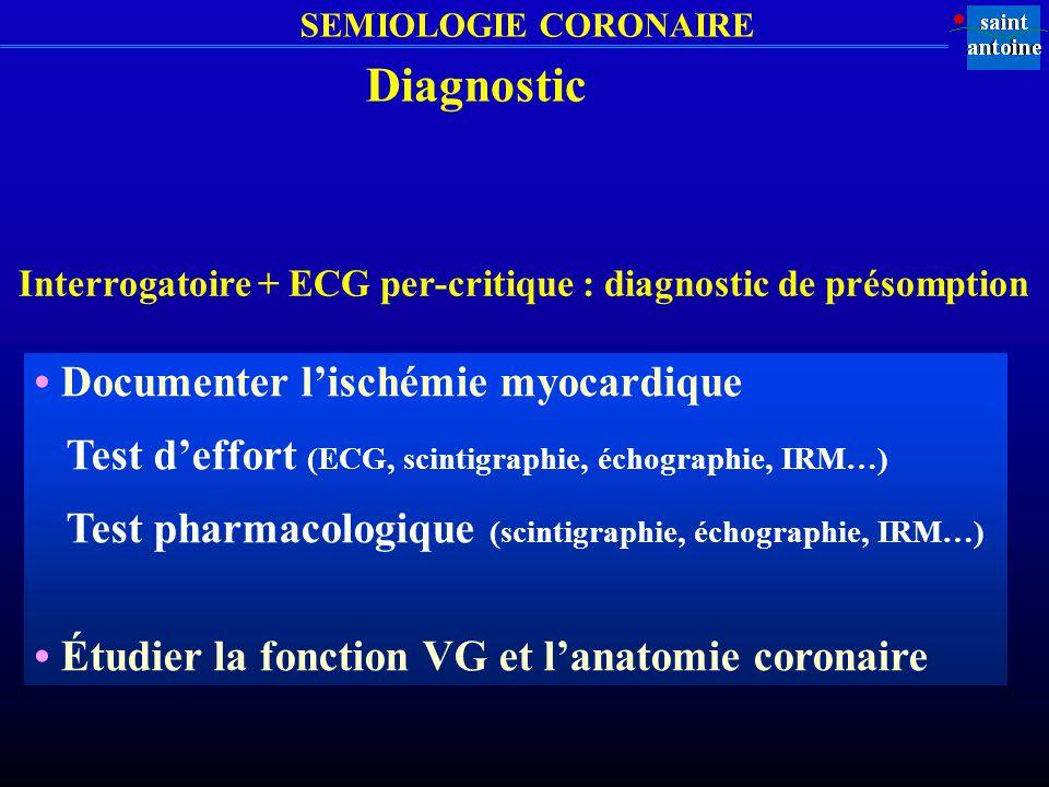 Diagnostic • Documenter l'ischémie myocardique