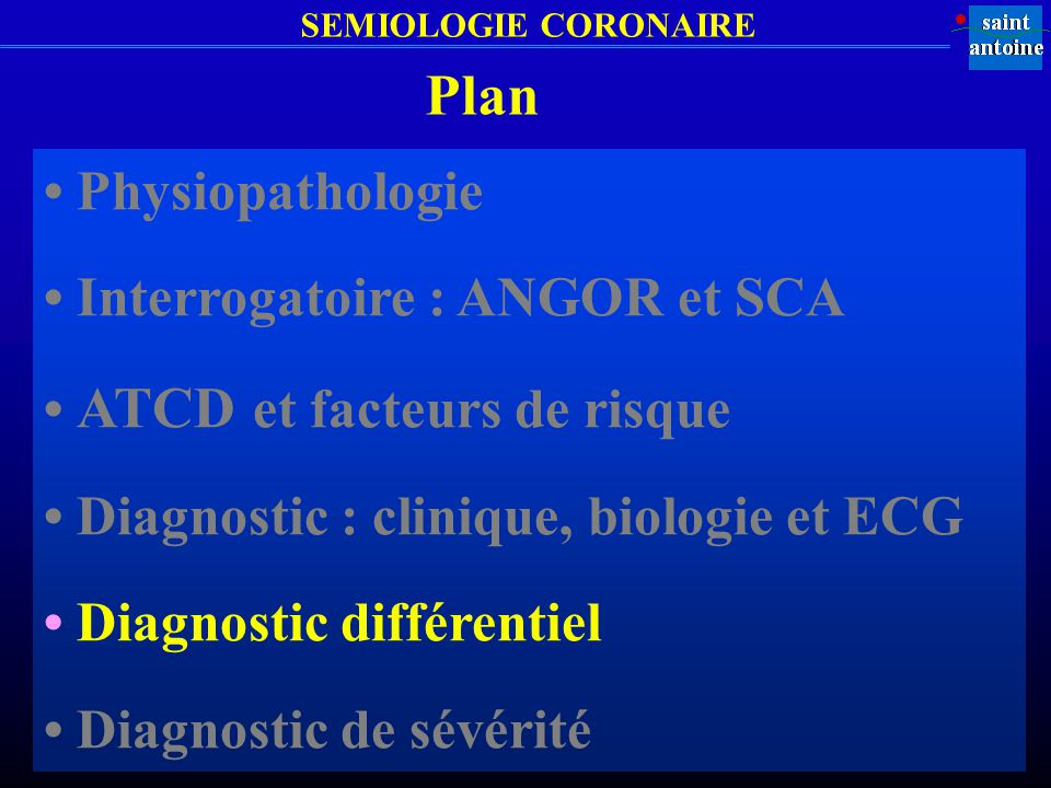 Plan • Physiopathologie • Interrogatoire : ANGOR et SCA