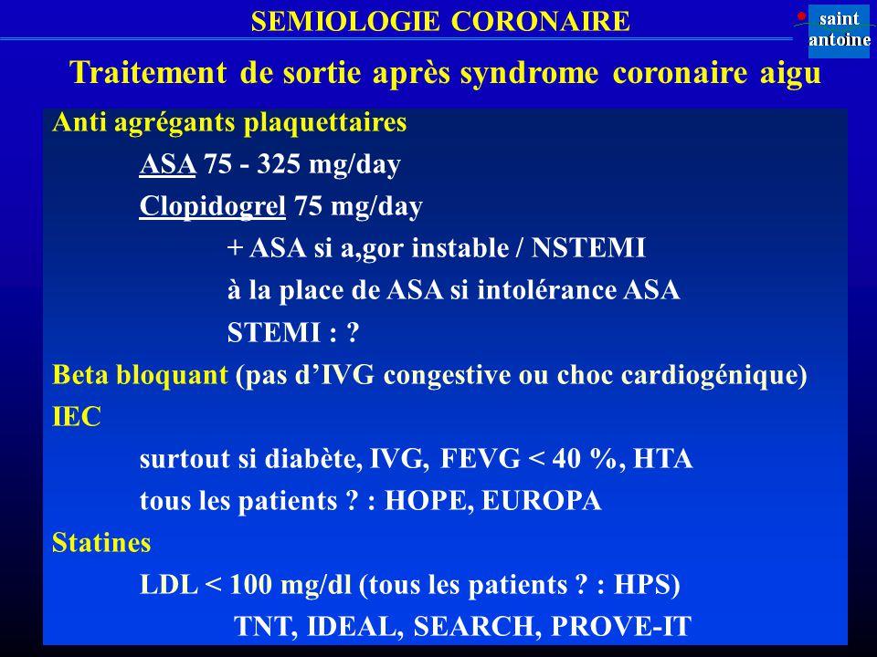Traitement de sortie après syndrome coronaire aigu