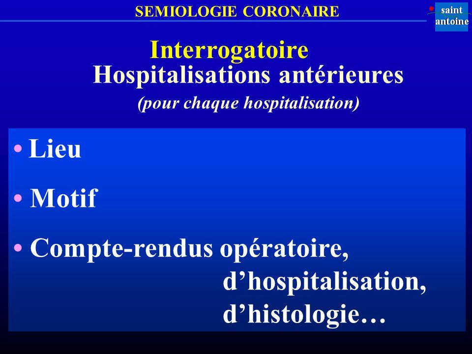 Hospitalisations antérieures (pour chaque hospitalisation)