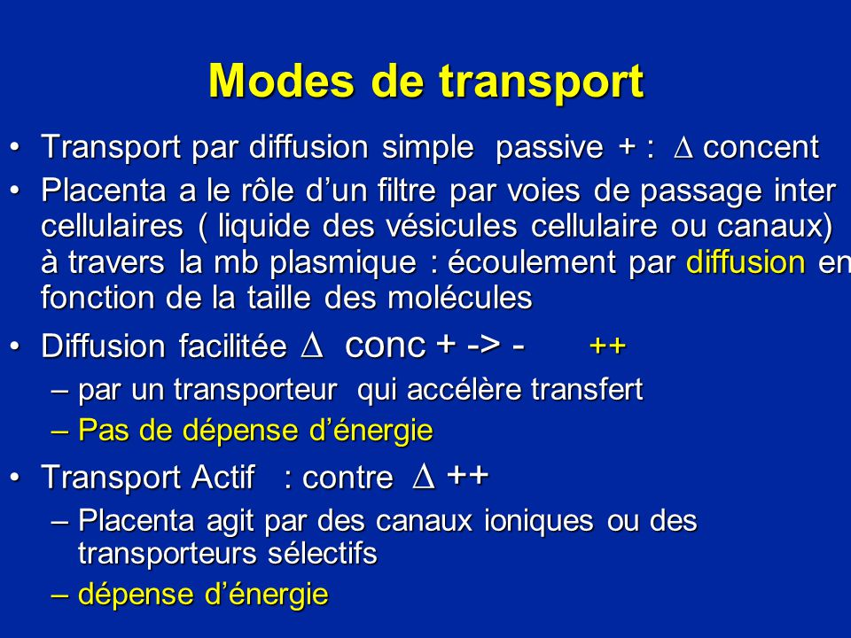 Modes de transport Transport par diffusion simple passive + :  concent.