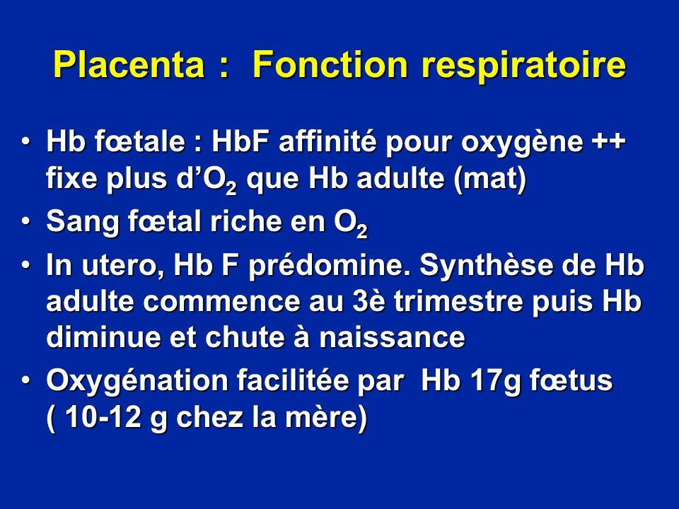Placenta : Fonction respiratoire
