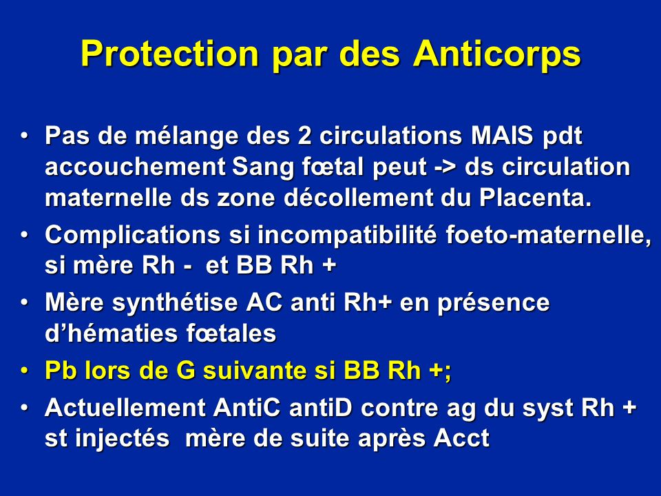 Protection par des Anticorps