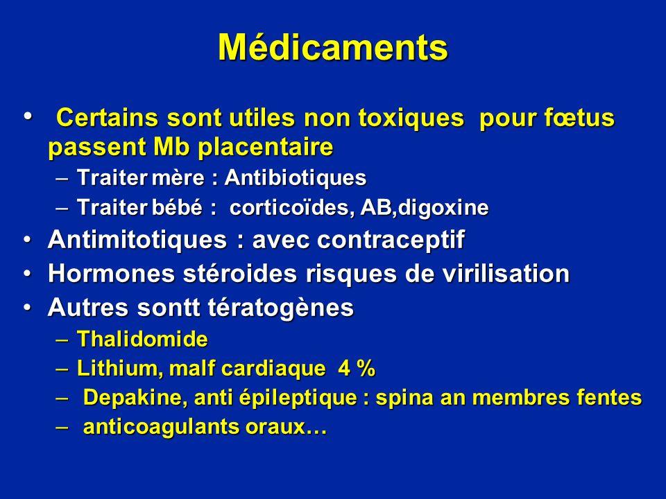 Médicaments Certains sont utiles non toxiques pour fœtus passent Mb placentaire. Traiter mère : Antibiotiques.