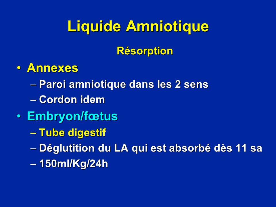 Liquide Amniotique Annexes Embryon/fœtus Résorption