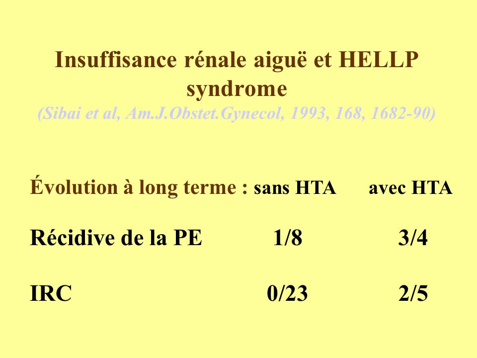 Insuffisance rénale aiguë et HELLP syndrome (Sibai et al, Am.J.Obstet.Gynecol, 1993, 168, 1682-90)