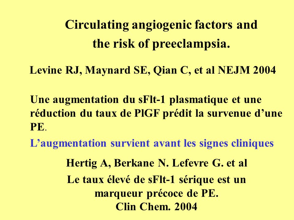 Circulating angiogenic factors and the risk of preeclampsia.