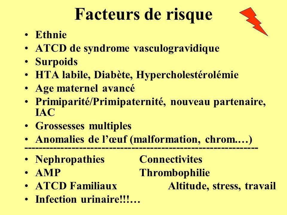 Facteurs de risque Ethnie ATCD de syndrome vasculogravidique Surpoids