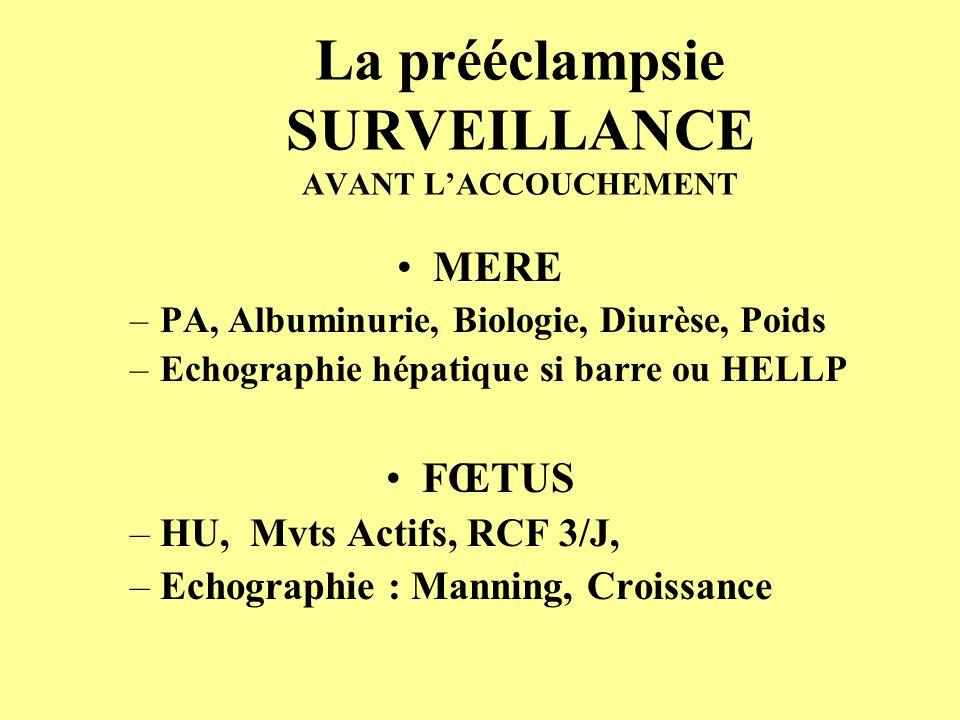 La prééclampsie SURVEILLANCE AVANT L'ACCOUCHEMENT
