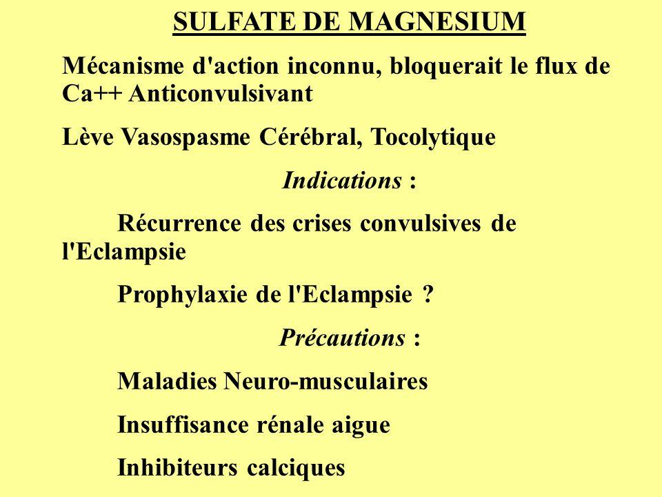 SULFATE DE MAGNESIUM Mécanisme d action inconnu, bloquerait le flux de Ca++ Anticonvulsivant. Lève Vasospasme Cérébral, Tocolytique.