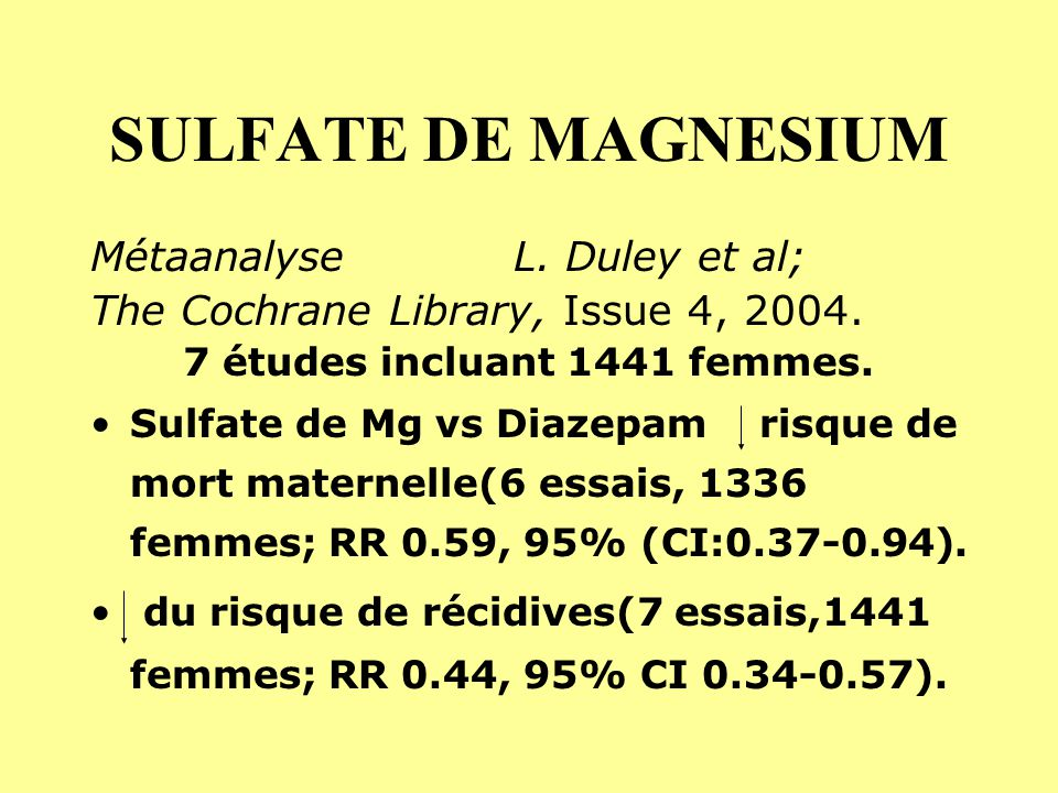 7 études incluant 1441 femmes.
