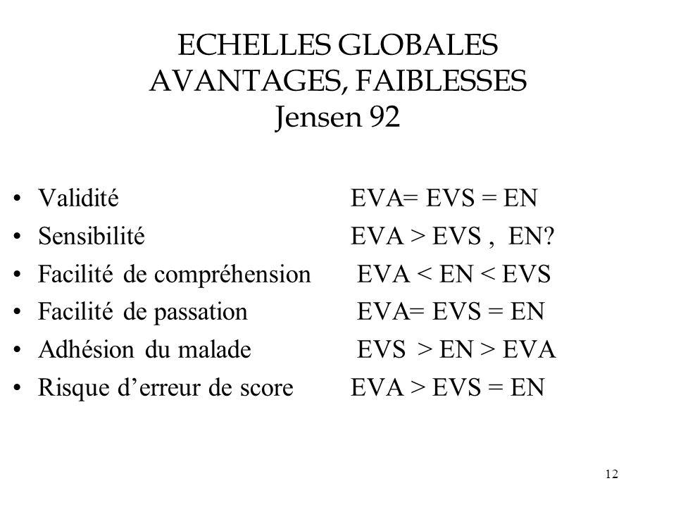 ECHELLES GLOBALES AVANTAGES, FAIBLESSES Jensen 92