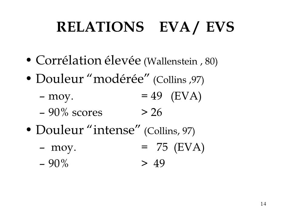 RELATIONS EVA / EVS Corrélation élevée (Wallenstein , 80)