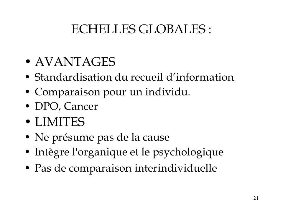 ECHELLES GLOBALES : AVANTAGES LIMITES