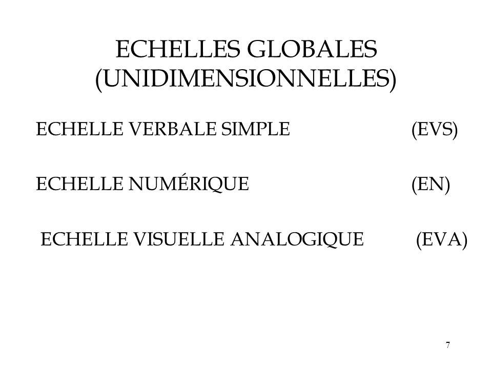 ECHELLES GLOBALES (UNIDIMENSIONNELLES)