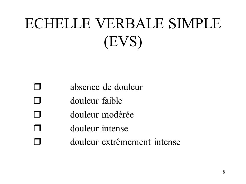 ECHELLE VERBALE SIMPLE (EVS)