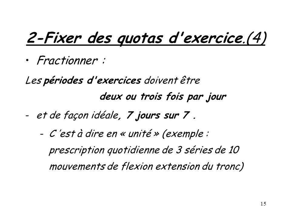 2-Fixer des quotas d exercice.(4)