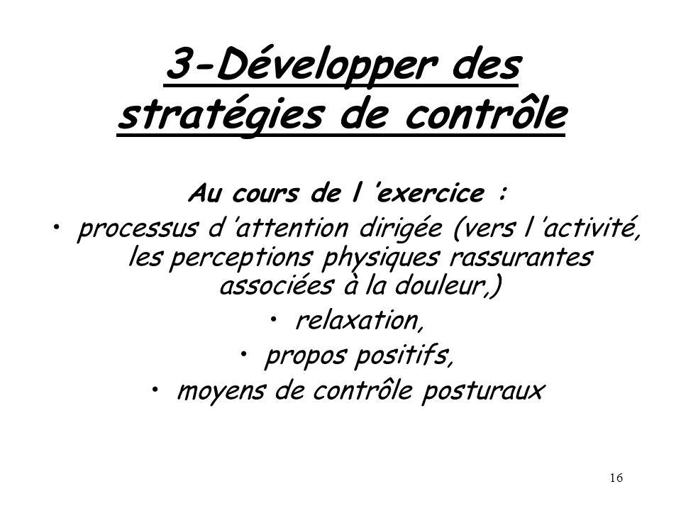 3-Développer des stratégies de contrôle