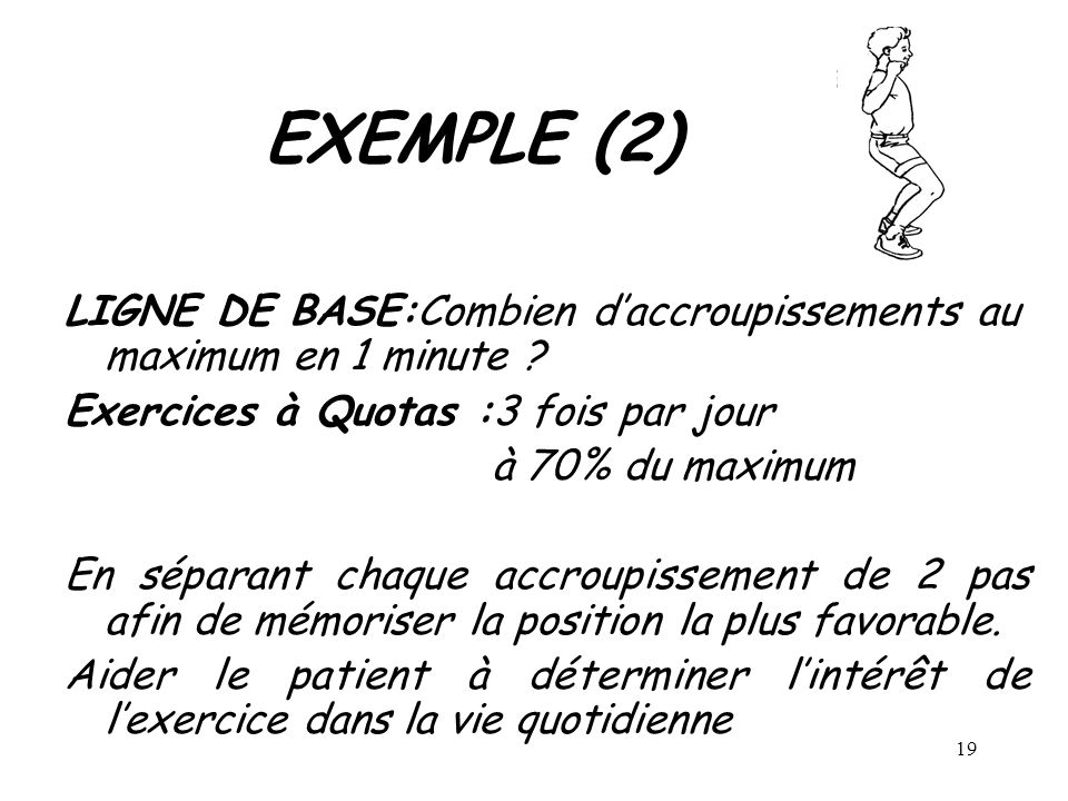 EXEMPLE (2) LIGNE DE BASE:Combien d'accroupissements au maximum en 1 minute Exercices à Quotas :3 fois par jour.