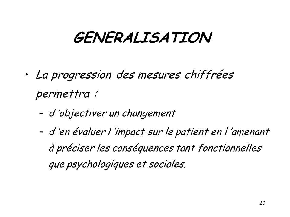 GENERALISATION La progression des mesures chiffrées permettra :