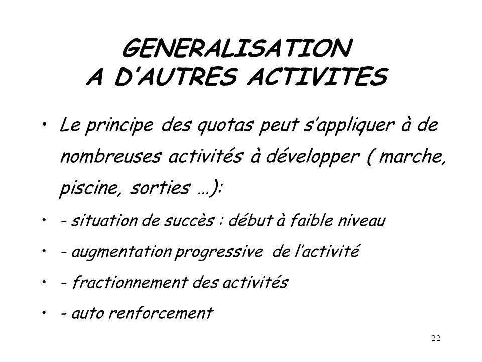 GENERALISATION A D'AUTRES ACTIVITES