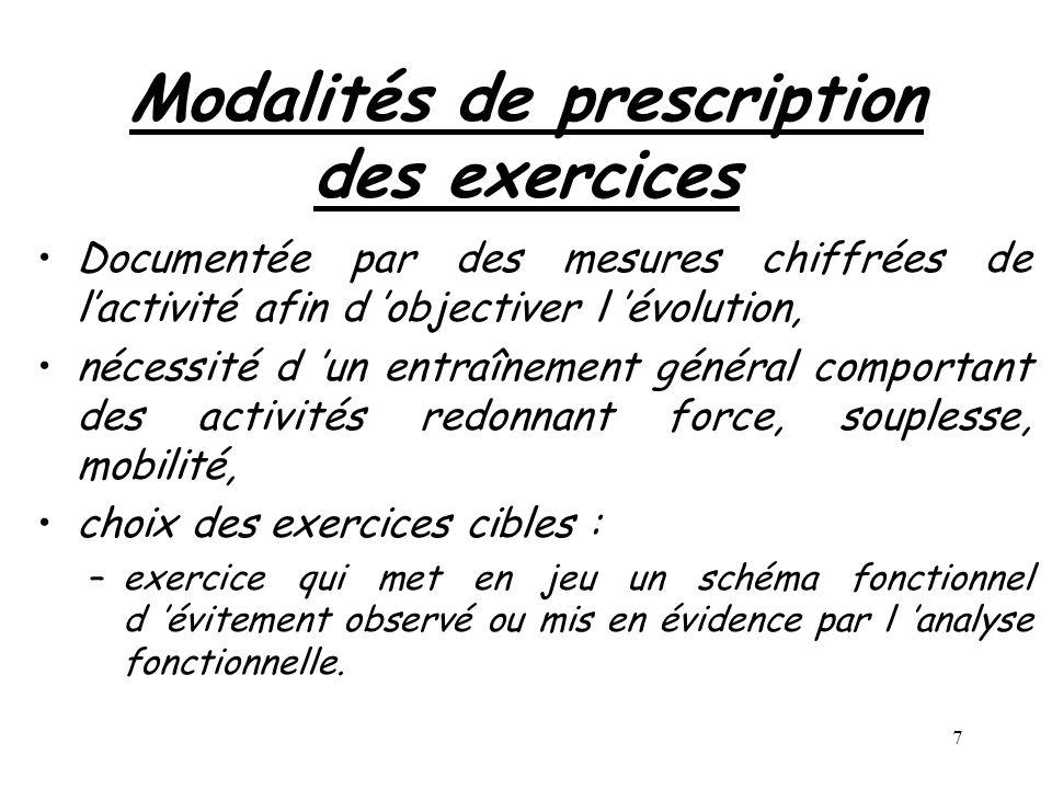 Modalités de prescription des exercices