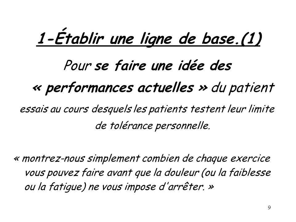 1-Établir une ligne de base.(1)