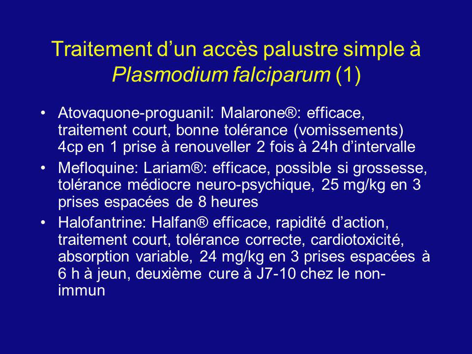 Traitement d'un accès palustre simple à Plasmodium falciparum (1)