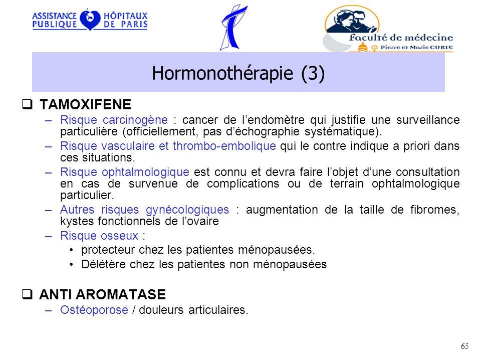 Hormonothérapie (3) TAMOXIFENE ANTI AROMATASE