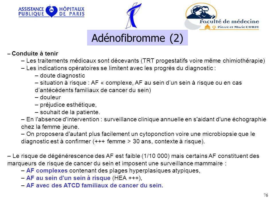 Adénofibromme (2) Conduite à tenir. Les traitements médicaux sont décevants (TRT progestatifs voire même chimiothérapie)