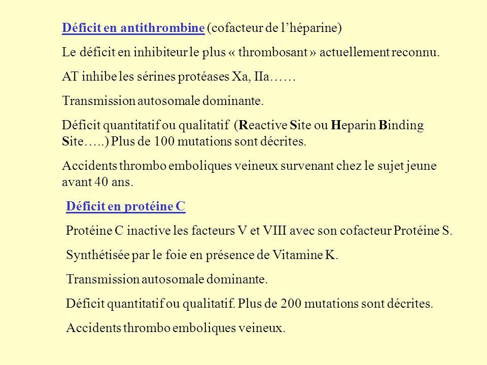 Déficit en antithrombine (cofacteur de l'héparine)