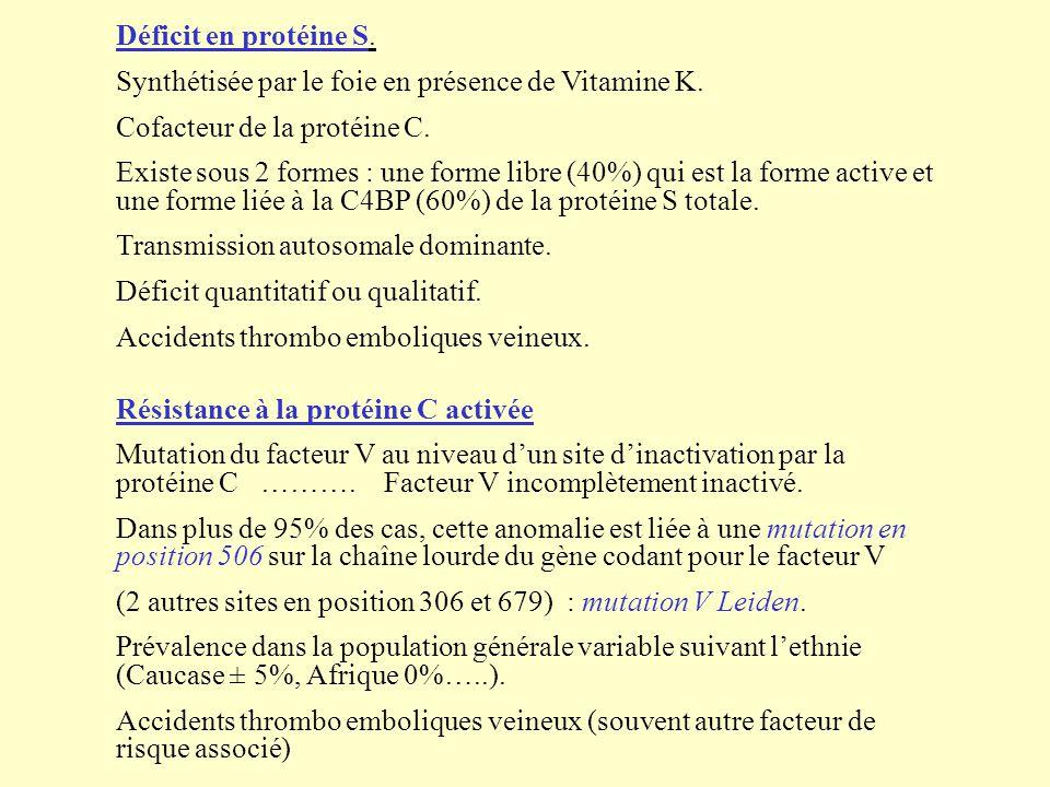 Déficit en protéine S. Synthétisée par le foie en présence de Vitamine K. Cofacteur de la protéine C.