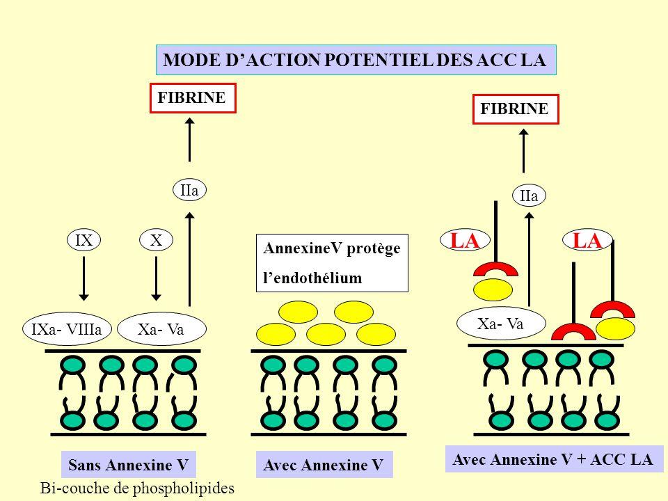 LA LA MODE D'ACTION POTENTIEL DES ACC LA FIBRINE FIBRINE IIa IIa IX X