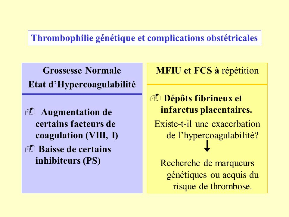 Thrombophilie génétique et complications obstétricales