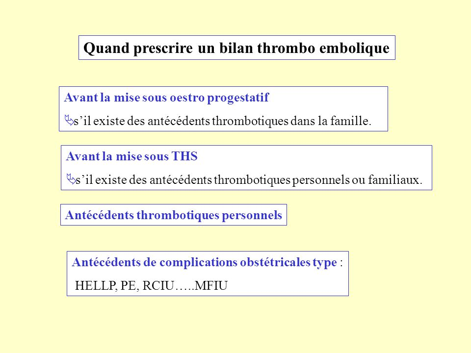 Quand prescrire un bilan thrombo embolique