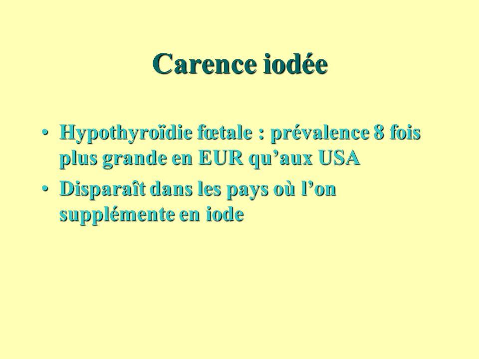 Carence iodée Hypothyroïdie fœtale : prévalence 8 fois plus grande en EUR qu'aux USA.