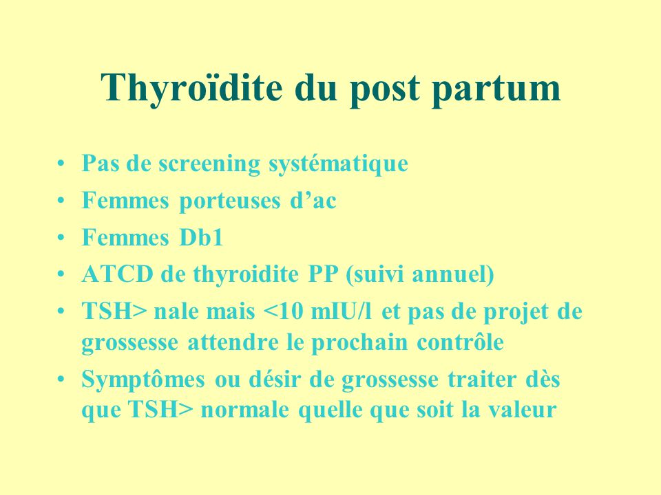 Thyroïdite du post partum